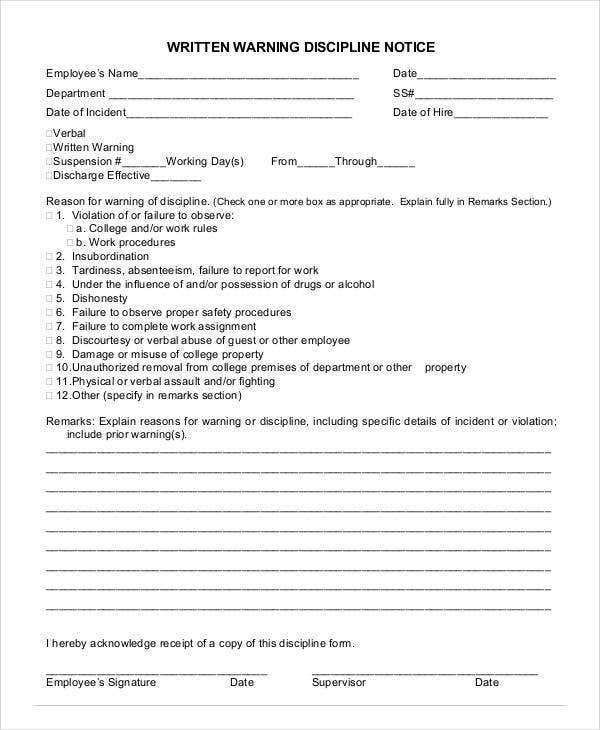 Written Warning Template   Free Pdf Word Documents Download