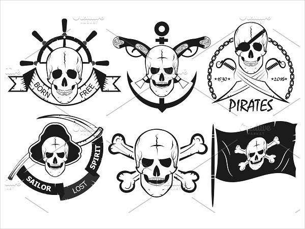 Pirate Logo with Skulls