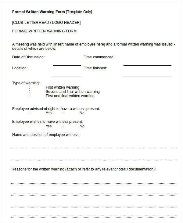 Superior Formal Written Warning Form