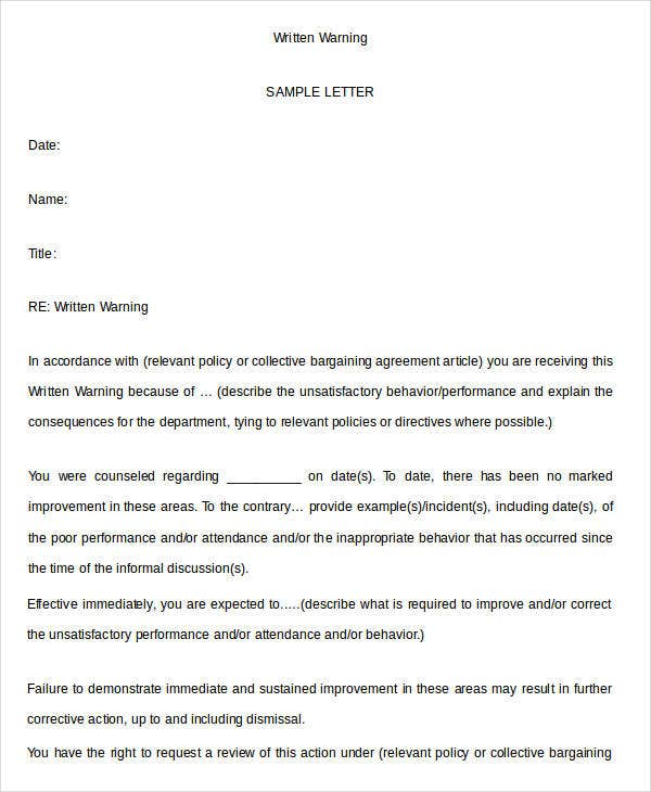 Written Warning Template - 9+ Free PDF, Word Documents Download ...