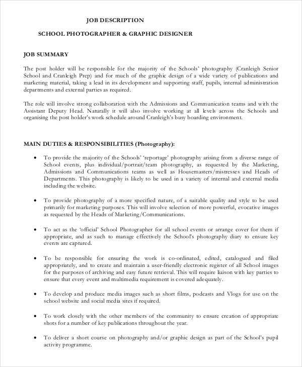 School Photographer Job Description