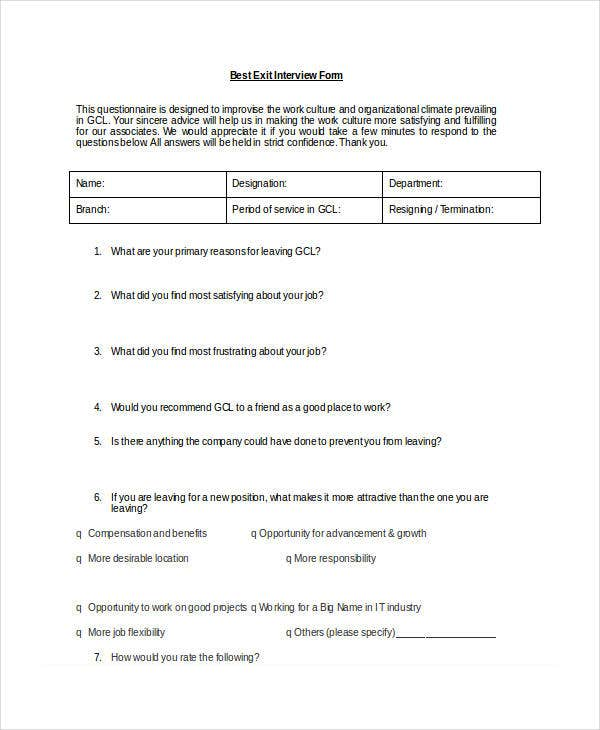 Best Exit Interview Form