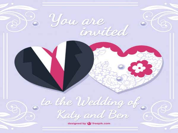 Free Bride and Groom Wedding Card Design