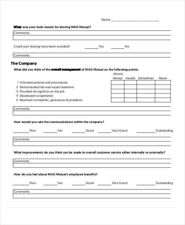 Blank Exit Interview Form