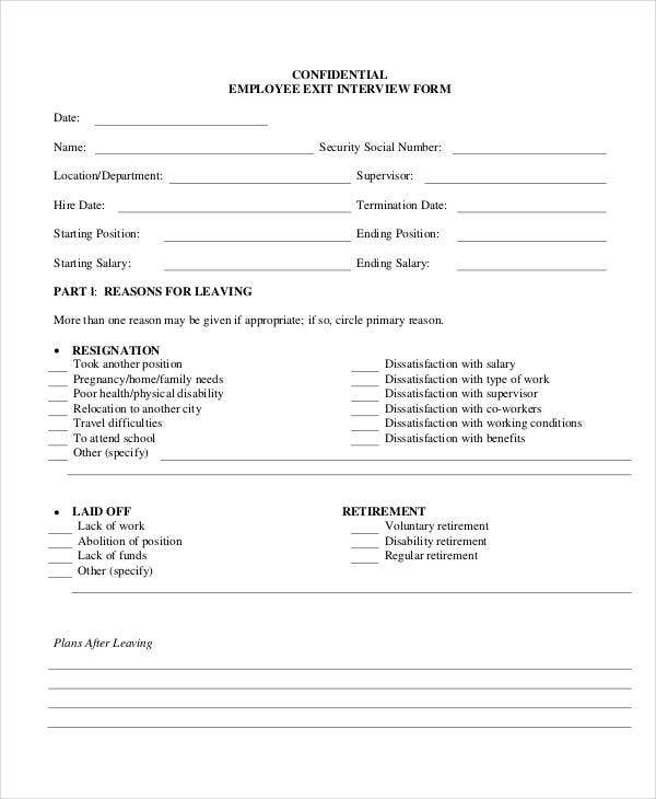 exit interview form 9 free pdf word documents download With free employee exit interview template
