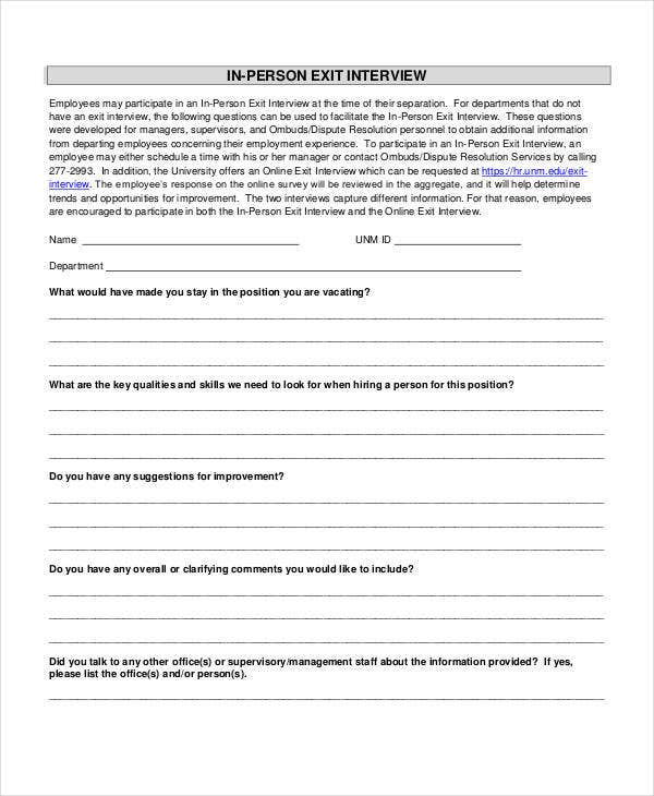 In Person Exit Interview Form