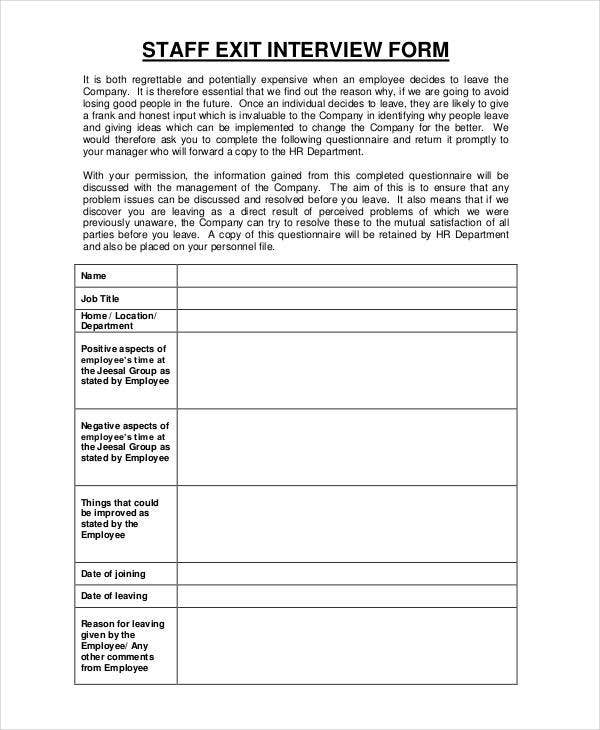 Exit interview form 9 free pdf word documents download for Interview templates for employers
