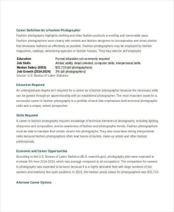 Fashion Photographer Job Description For Designer