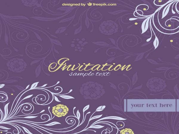 Free Purple Printable Wedding Invitation
