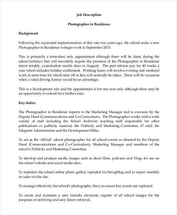 Residence Photographer Job Description