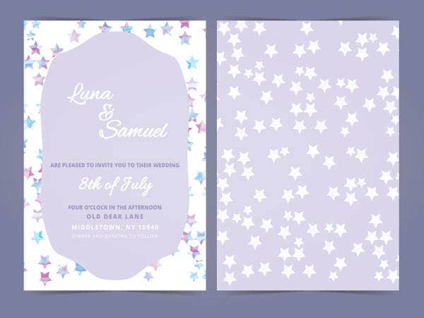 Free Vector Star Filled Wedding Invite
