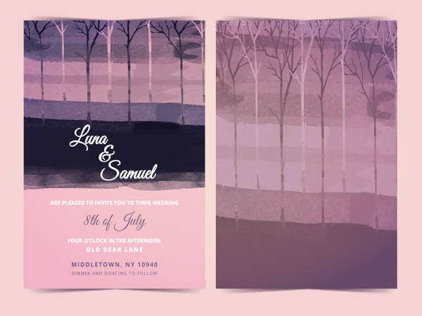 Free Dark Forest Printable Wedding Invitation