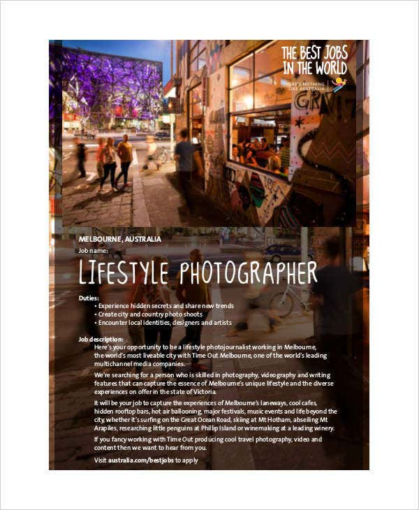 Lifestyle Photographer Job Description
