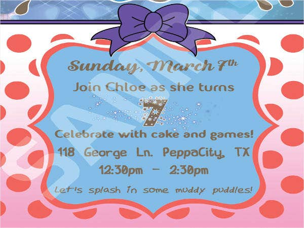 Free Peppa Pig Party Invitations