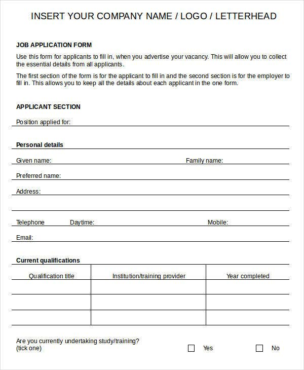 Printable Application Form Job Application Form For Mcdonalds