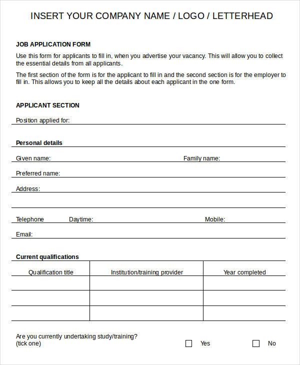 Employee Application Forms Solarfm
