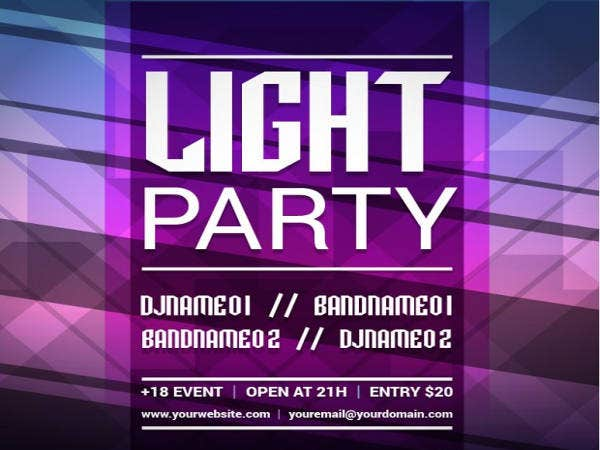 Free Printable Polygonal Light Party Invitation