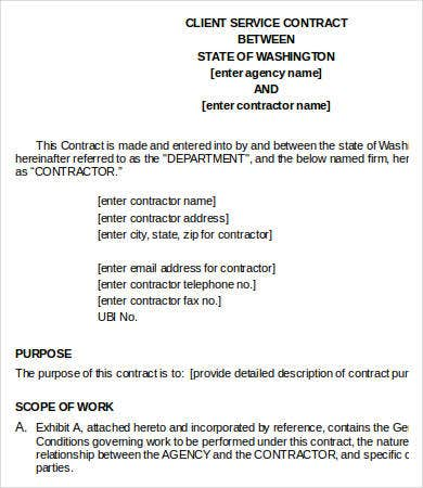 Service Contract Templates   Free Word Pdf Documents Download