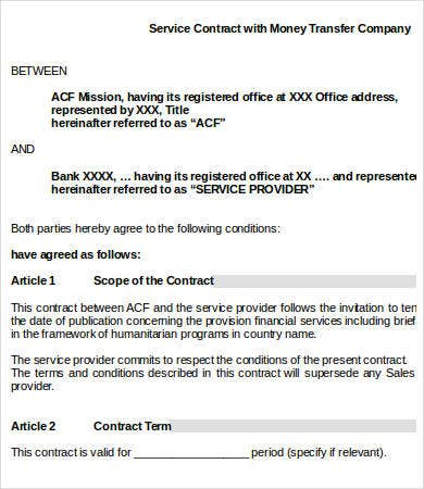 financial service provider contract template