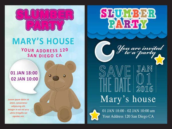 Free Printable Slumber Party Invitationvv