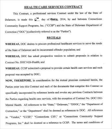 sample health care contract template in pdf