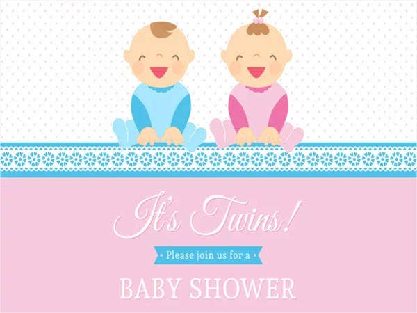 Free Printable Baby Shower Invitation for twins