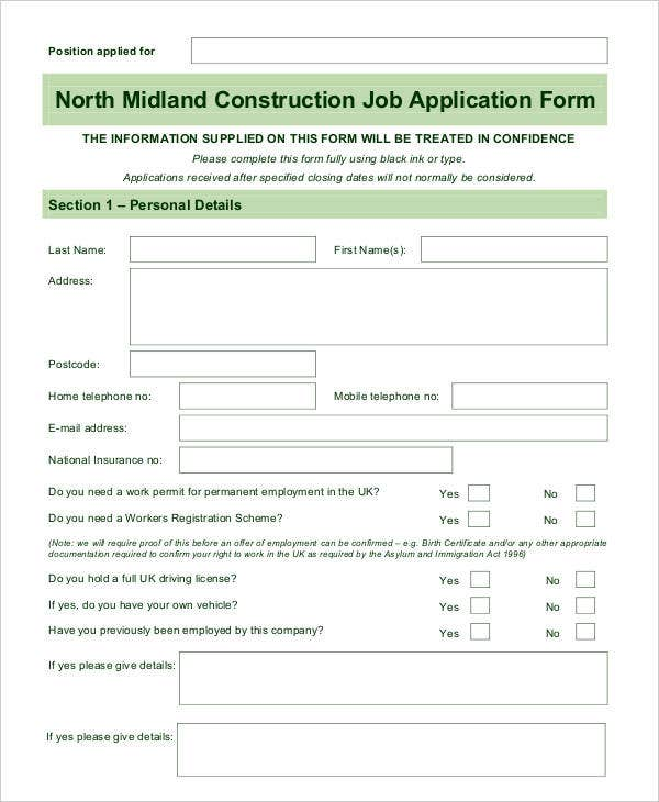 Blank Job Application   Free Word Pdf Documents Download