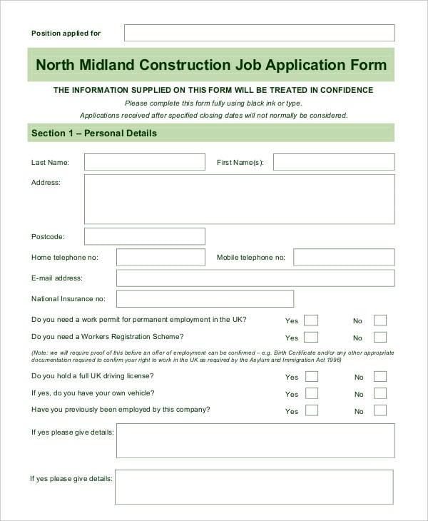 Blank Employment Application Form Template Datariouruguay