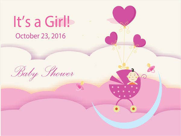 Free Its Girl Printable Baby Shower Invitation