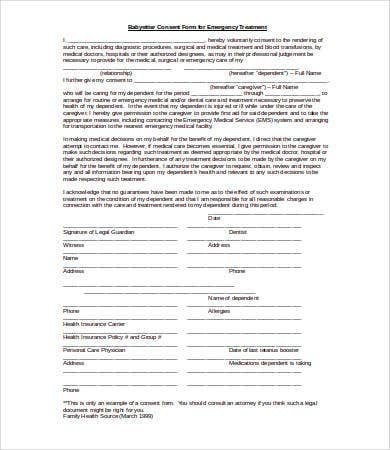 Medical Consent Forms Emergency Information Medical Consent Form