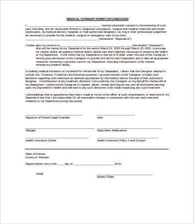 caregiver consent form Medical Consent Form - 9  Free PDF, Word, Documents Download | Free ...