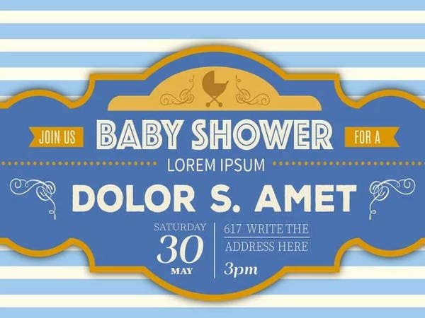 Free Printable Baby Shower Baby Shower Retro Template