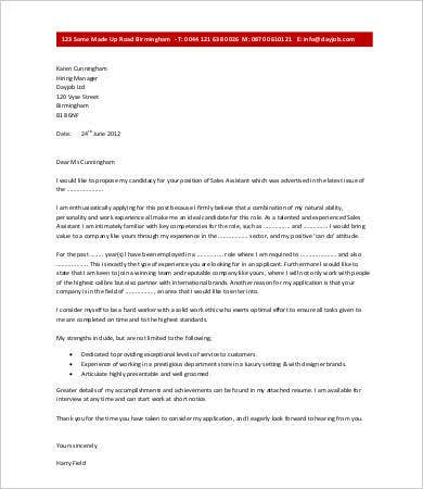 cover letters for sales assistant Use this administrative assistant cover letter sample to help you write a powerful cover letter that will separate you from the competition.