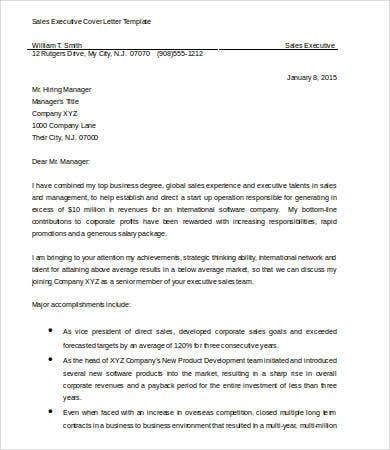 Sales Executive Cover Letter Template in Word