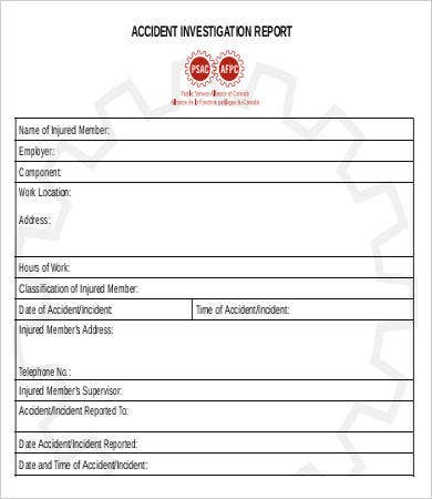Accident form 1 accident report sample form 11 accident for Vehicle accident investigation form template