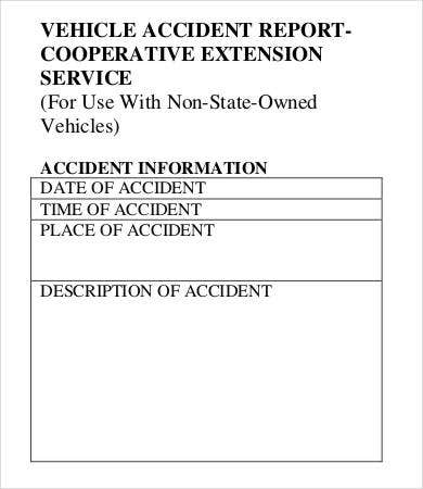 CES Vehicle Accident Report Form Template Download  Incident Form Template