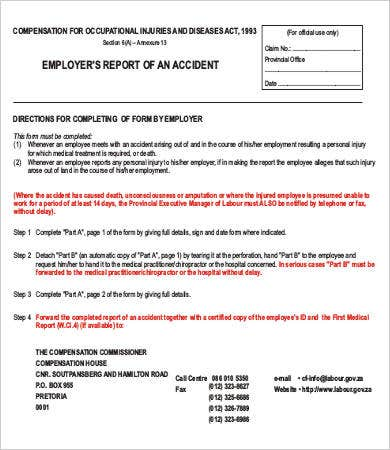 employers report of an accident form