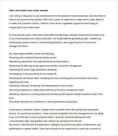 Sales Associate Cover Letter  Cover Letter For Sales Associate