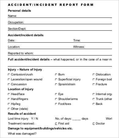 Accident Incident Report Form  Free Printable Incident Reports