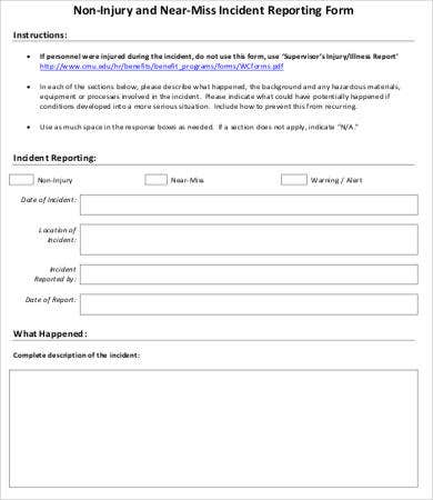Non Injury Incident Report Form  Injury Incident Report Form Template