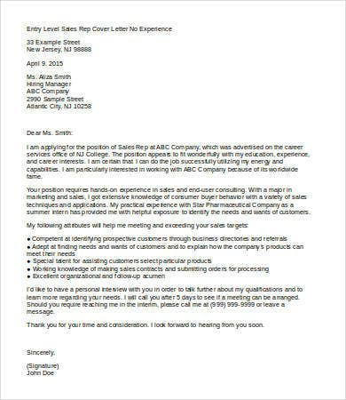 cover letter for sales executive with no experience sales cover letter 9 free word pdf documents download
