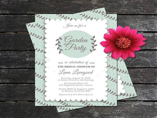 Free Garden Party Bridal Shower Invitation