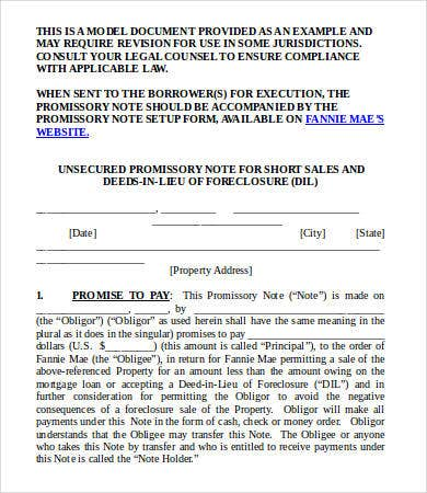 Promissory Note Model Form