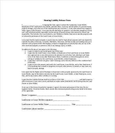 Hunting Liability Release Form