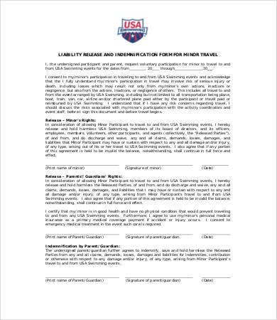 Liability Release Form For Minors  General Liability Release