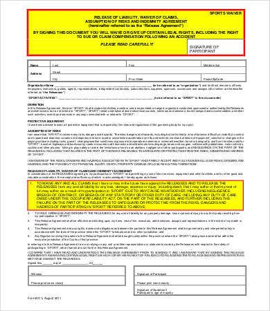 Sports Liability Release Form