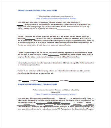 Volunteer Liability Release Form