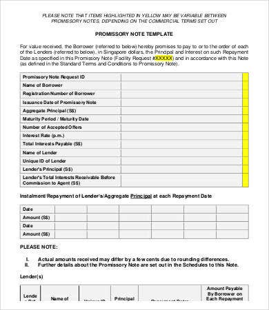 free business promissory note template