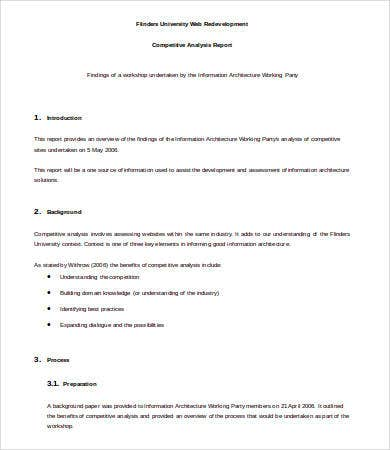 High Quality Competitive Analysis Report Template Download