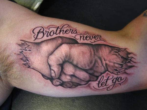 Traditional Brother Quote Tattoo